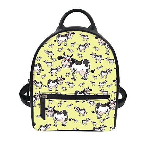 Bigcardesigns Backpack Leather Walking Short Yellow Cow for Cartoon Cartoon Bag Daily PU Women Girl AtEqrA
