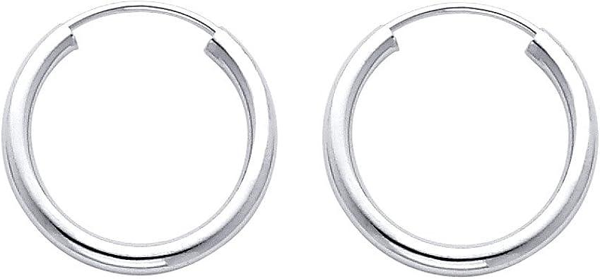 Pendientes De Aro De Oro Blanco De 14 K De 0 079 In De Grosor 0 709 X 0 709 In Jewelry