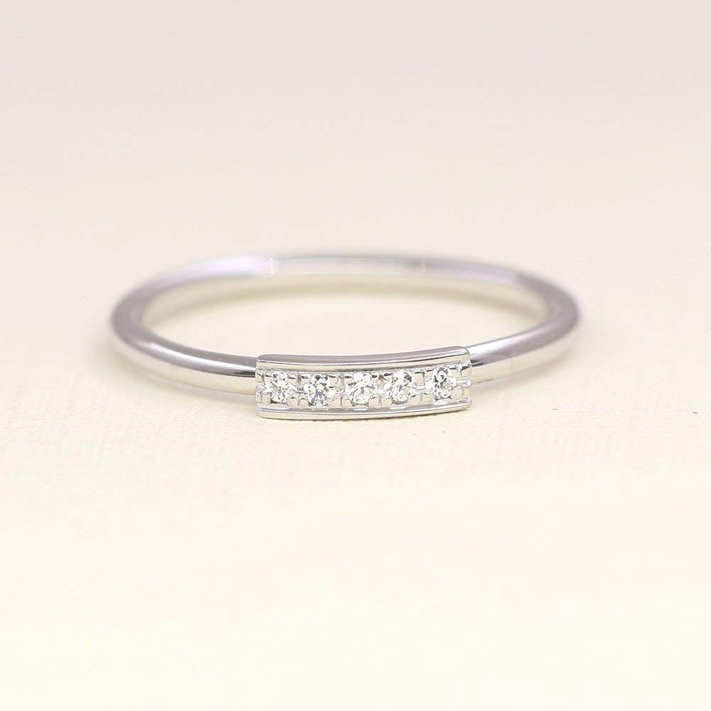 RoseWhiteYellow Gold,Thin Minimalist Ring Dainty Simple Women Ring 14k 18k Solid Gold 7 Diamond Wedding Band Stackable Rings Band
