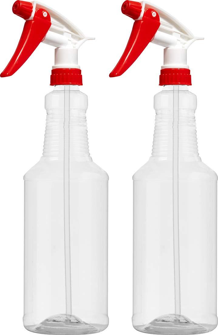空のプラスチックスプレーボトル 32オンス クリスタルクリア PETE1 BPAフリー 食品グレード レッド/ホワイト N8 完全に調節可能なスプレーボトル B07C8KVRC8  Pack of 2