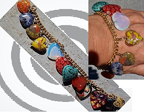 12 Heart Charms Bracelet incl. Puffy Heart, Enamel, Sodalite, Unakite ,Agate Hearts, Glass Hearts ,Millefiore , Moonstone, & Hematite. ONE OF A KIND!