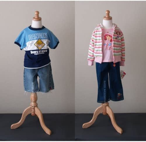 Boy or Girl White with Natural Tripod Base Kids 3-4 Years Child Jersey Mannequin Dress Form