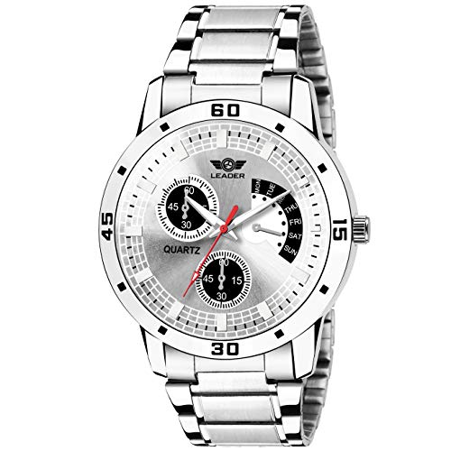 LEADER Analogue Men's Watch (Silver Dial Silver Colored Strap)