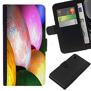 A-type (Abstracto fresco del color impresionante pintura del arco iris) Colorida Impresión Funda Cuero Monedero Caja Bolsa Cubierta Caja Piel Card Slots Para Sony Xperia Z2 D6502