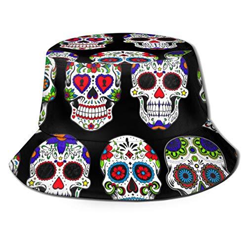 Outdoor Bucket Hat Day Dead Sugar Skull Print Fisherman Boonie Cap Men