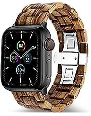 Natuurlijke Houten Link Armband voor Apple Watch Series 5 4 Band 44mm 40mm Horlogeband Armband voor Iwatch 3 42mm 38mm Strap Vrouwen Mannen Correa Riem (Band Kleur: Bruin, Band breedte: 44mm of 42mm)