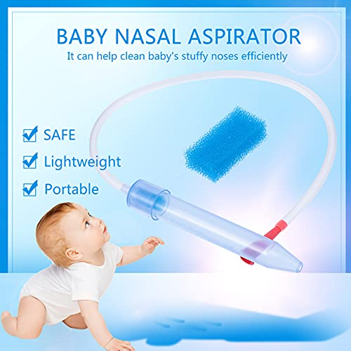 Baby Nasal Aspirator with 24 Filters,Snot Sucker Infant Premium Mucus Aspirator,Mouth Suction Nasal Congestion Relief for Toddlers,Fast and Safe