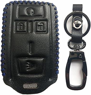Rpkey Leather Keyless Entry Remote Control Key Fob Cover Case protector For Chevrolet Colorado Silverado 1500 2500 HD 3500 HD GMC Canyon Sierra 1500 2500 HD 3500 HD M3N-32337100 22881480 32337100 ASD