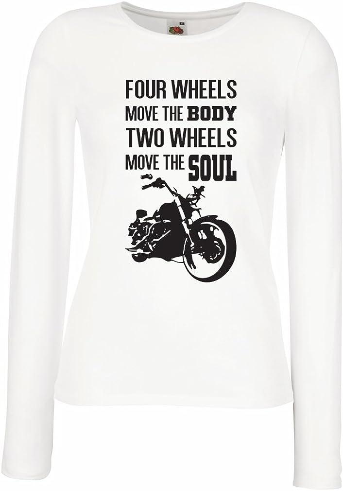 lepni.me Camisetas de Manga Larga para Mujer Dos Ruedas mueven el Alma - Refranes de los Amantes de Las Motos, Ropa de Motocicleta: Amazon.es: Ropa y accesorios