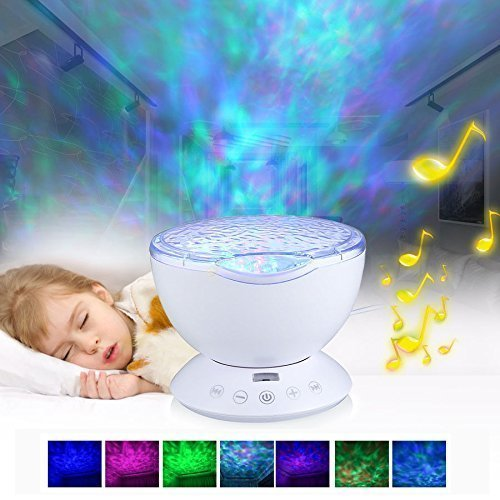 Night Light Projector - Aelite Night Lights for Kids Remote Control Ocean Wave Lamp for Baby Nursery 12 LED & 7 Colors Changing with Speaker(White)