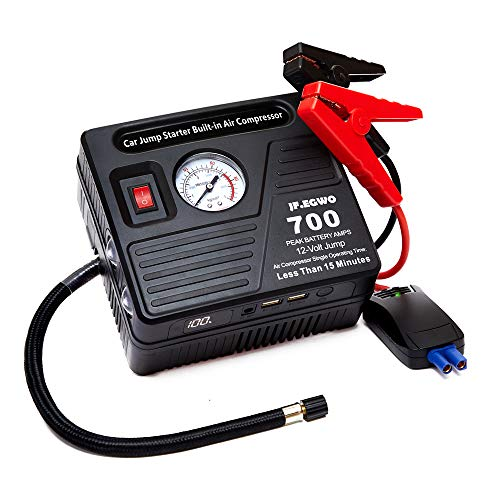 - jfegwo Jump Starter with Air Compressor Portable Battery 700 AMP Peak Power Pack– 18000 mAh Li-on with 2.1A Dual USB Ports & Flashlight – Ideal for Up to 6.0 L Gas or 5.0 L Diesel Engines by JF.EGWO