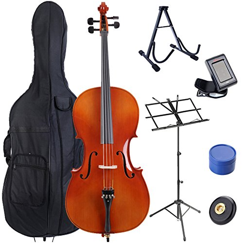 ADM 4/4 Full Size Attractive Flamed Cello Outfit, Gloss Red Brown by ADM