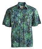 Johari West Indo Bay Tropical Hawaiian Cotton Batik Shirt (L, Green)