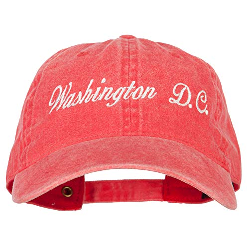 Washington D.C. Embroidered Washed Cotton Twill Cap - Red OSFM