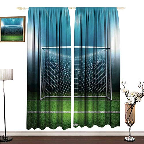 Anshesix Printed Curtain Sports Decor Soccer Goal Post Sports Area Winner Loser Line Floodlit Best Team Finals Game Gym Theme W96 xL72 Environmental Protection]()