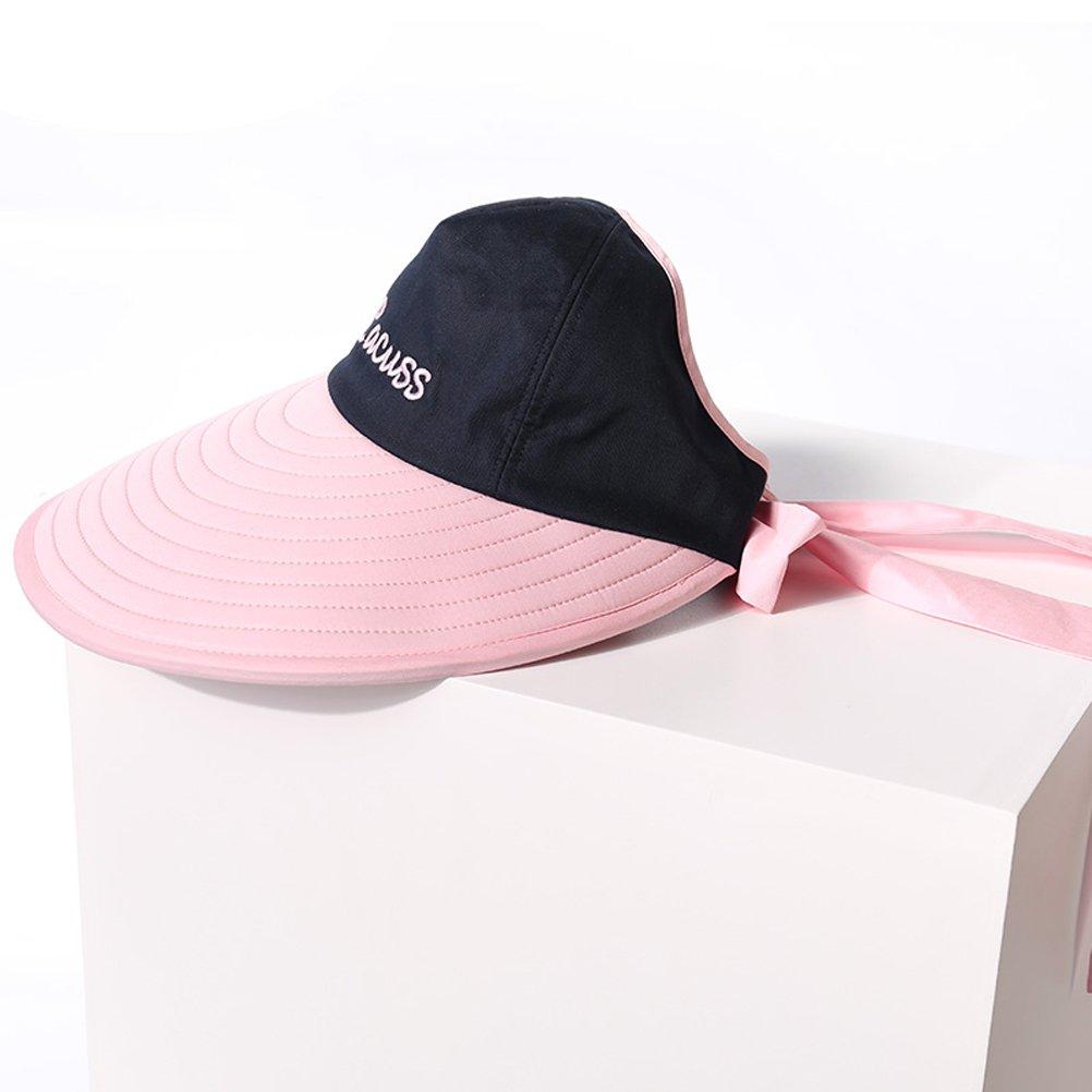 CACUSS Womens Summer Sun Hat Large Brim Visor with Bowknot Adjustable UPF  50+ C0215White 386feabb1df