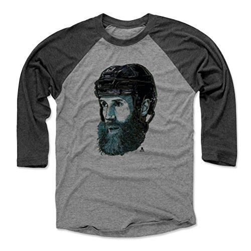 500 LEVEL Joe Thornton Baseball Tee Shirt (Medium, Black/Heather Gray) - San Jose Sharks Raglan Tee - Joe Thornton Bust ()
