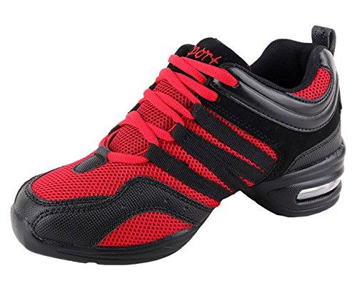 Dpo Dames Ademende Vrijheid Veter Dansschoen Comfort Dans Sneaker Rood