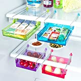 under the desk fridge - ALPHELIGANCE Kitchen Refrigerator Partition Storage Rack Office Table Drawer Space Saver Shelves Organizer 5.9x4.7x0.9 inch (4 pack)