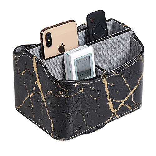 UnionBasic PU Leather 360 Degrees Rotatable Remote Control/Controller Organizer, Spinning TV Guide/Mail/Media Desktop Organizer Caddy Holder, PU Leather in Marble Black with Golden Pattern - Faux Leather Stitched Coffee Table