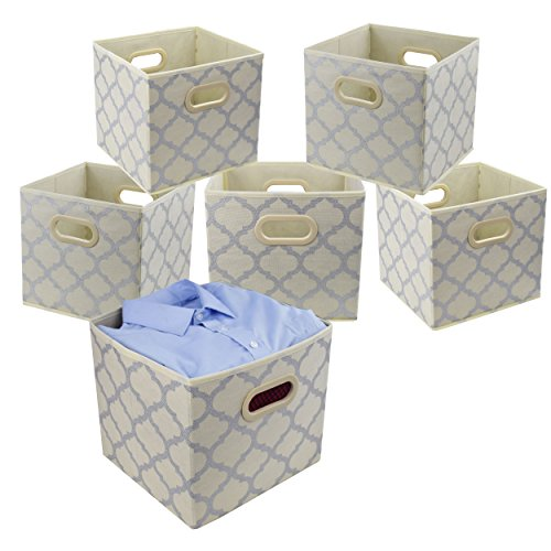 Wicker Storage Cubes - Homyfort Foldable Cloth Storage Bins, Fabric Storage Cubes Organizer 12x12 with Dual Plastic Handles for Closet,Bedroom, Toys, 6 Pack,Beige Large