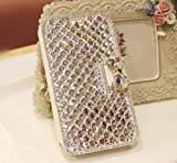 Xdaysdays® Luxury 3D Bling Crystal Rhinestone Wallet Leather Purse Flip Card Pouch Cover Case for Smart Mobile Phones (Coolpad Catalyst 3623A, White Crystal)