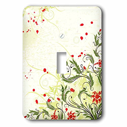 Anne Marie Baugh - Flowers - Pretty Red Tulip Flowers With Fancy Leaves - Light Switch Covers - single toggle switch (lsp_236139_1)