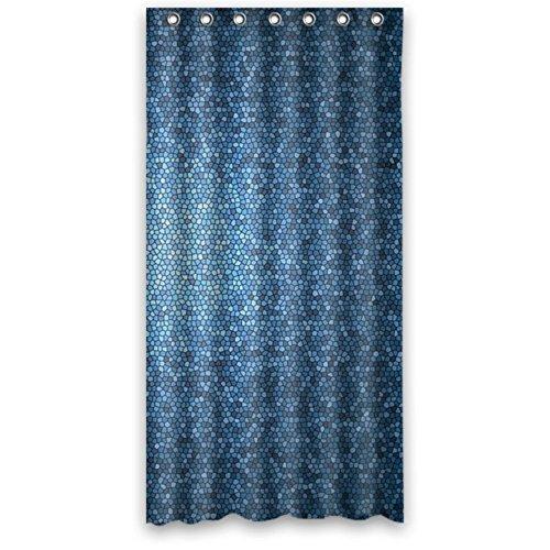 Bikini bag Illustrations Mosaic Royal Tardis Steel Blue Waterproof Polyester Fabric Bathroom Shower Curtain 48x72 IN