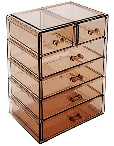 Sorbus Cosmetics Makeup and Jewelry Big Storage Case Display - Stylish Vanity, Bathroom Case (4 Large, 2 Small Drawers, Bronze (Bedroom Plastic Dresser)