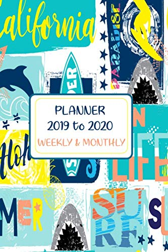 Student Daily Organiser For Boys & Girls - Ocean Life Surfing Design: High School Yearly Organiser - Well Lit Design For Back To School