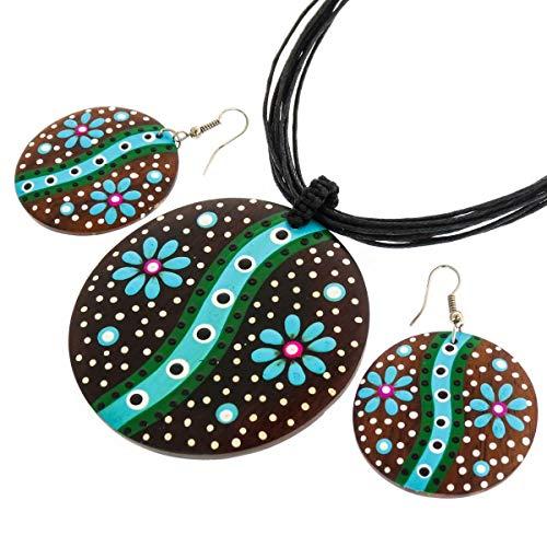 2 3/8'' Blue Green Flower Handpainted Wood Necklace & Earring Set YE-3057