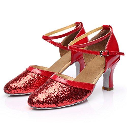 Zapatos Vashcamer Baile Rojo Tacón Mujer De Para BBwrTd