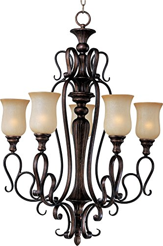 Maxim 21125MCFL Sausalito 5-Light Chandelier, Filbert Finish, Mocha Cloud Glass, MB Incandescent Bulb , 40W Max., Dry Safety Rating, 2900K Color Temp, Standard Dimmable, Glass Shade Material, 3000 Rated Lumens