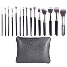 Makeup Brushes Set, Flawless Cosmetic Make Up Brushes, Densely Packed Goat hair Synthetic Blending Blush Concealer Eye Face Brushes Complete Makeup Brushes Kit with black Leather case (15 Pieces)