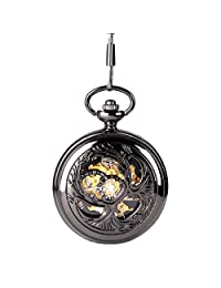 ALIENWOLF Vintage Antique Steampunk Mechanical Pocket Watch Pendant with Chain Gift F140