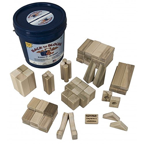 Old Fashioned Wooden Blocks (Back To Blocks Basic Builder Wooden Building Block Set   60 Piece Solid Wood Blocks  10 Shapes   Includes Blue Storage Bucket For Easy Clean Up   100% All Natural)
