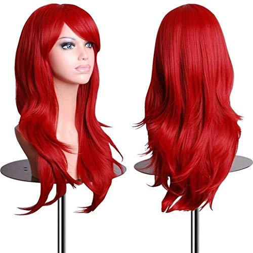 28 Inch Women's Red Long Wavy Wig for Women Halloween Ariel Cosplay Wigs (Red) -