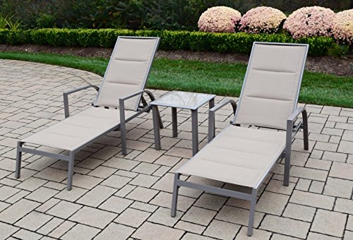 Oakland Living Padded Sling Aluminum Chaise Lounge, Champagne