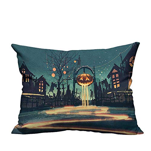 YouXianHome Decorative Couch Pillow Cases Halloween Theme Night Pumpkin and House Ghost Town ful Teal Orange Easy to Wash(Double-Sided Printing) 19.5x54 inch -