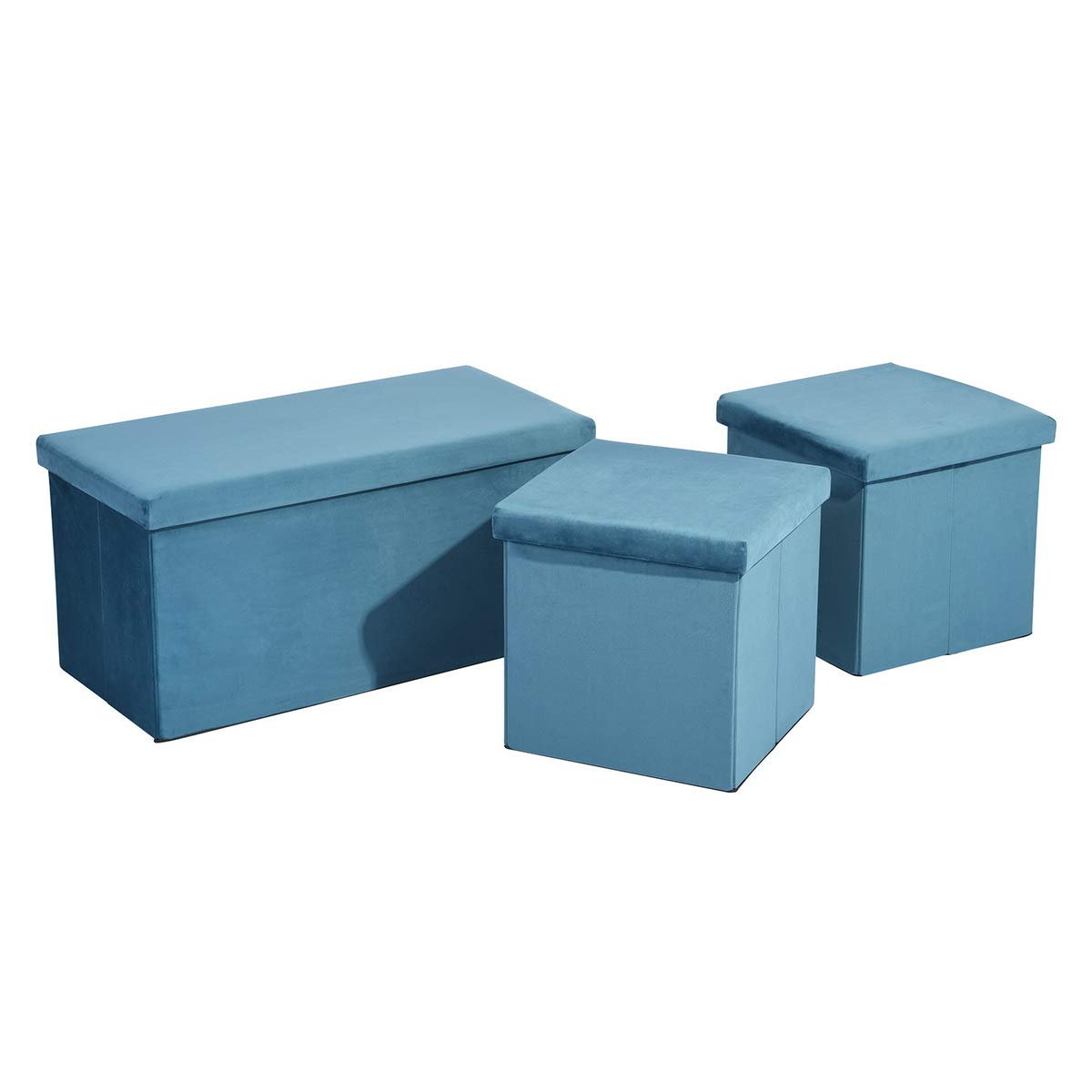 FurnitureR Set of 3 Multifunction Storage Ottoman Cube Fabric Cover Box 2 Cube Box 1 Rectangle Foot Rest Stool