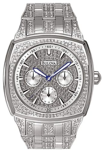 Bulova Men's 96C002  Swarovski Crystal Stainless Steel - Steel Stainless Multifunction Watch Bulova