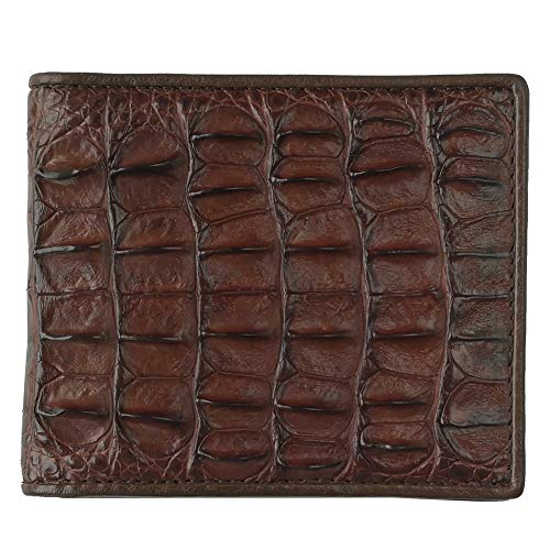 CHERRY CHICK Alligator Leather Wallets for Men Crocodile Skin Billfold Hot Gift (Brown-Back-Horizontal)