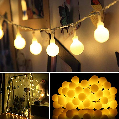 LED outdoor ball string lights ,80 LED waterproof ball light,garden, Christmas tree, party, LED Starry Light Fairy Light for Wedding, Xmas Party ( Battery and USB powered 32 ft / 10 meters warm light