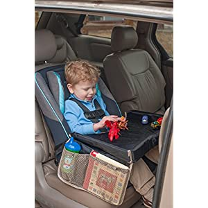 Star Kids Snack & Play Travel Tray - Easy To Clean Nylon With Mesh Pockets, Cup Holder & Reinforced Sides. Keeps Snacks Off The Floor & In The Tray. Great for Car Trips, Plane Rides & More.