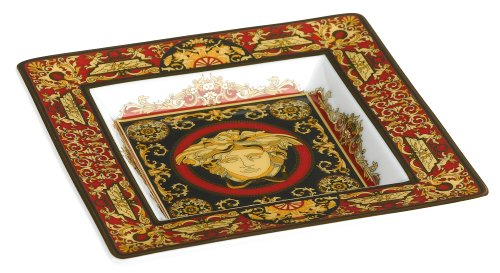 Versace by Rosenthal Medusa Red 5 1/2-Inch Square Tray (Rosenthal Medusa Red Gift)