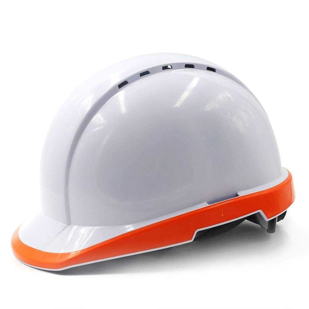 FEI JI Hard Hats - Construction Site Night Construction Leading Electric Labor Insurance Helmet Construction White Anti-mite Breathable Fluorescent High-bright Hat Head Protection Equipment, Safety Ac