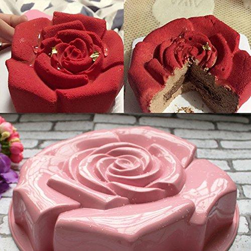 SuperStore Rose Shape Silicone Cake Mould Chocolate Pudding,FondantCake,Mousse Cake,Pudding,Chocolate,Jelly Pudding,Mold Kitchen DIY Cake Baking Pan Cake Tools Color Random.