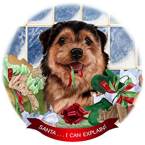 (Norfolk Terrier Black/Tan Dog Porcelain Ornament Pet Gift 'Santa. I Can Explain!')