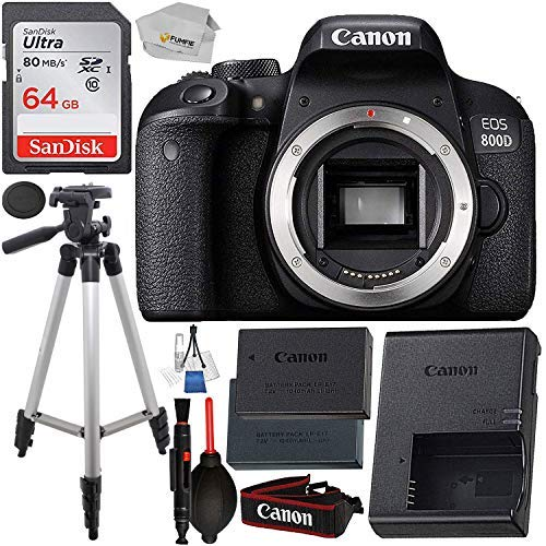 Canon Sharp Eos - Canon EOS 800D (Rebel T7i): Includes Promotional Spare Battery+ SanDisk Ultra 64GB SDHC Class 10 Card, 50