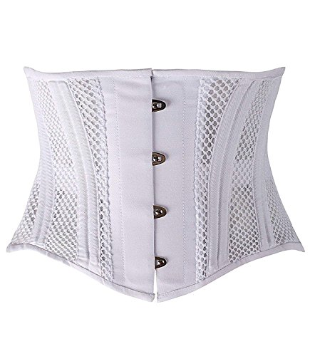 SHAPERX Women's 26 Steel Boned Corset Heavy Duty Waist Trainer Corset Shaper for Weight Loss Tummy Control Waist Slimming Trimmer Cincher Shapewear Breathable Mesh,SZ1997-White-2XL]()